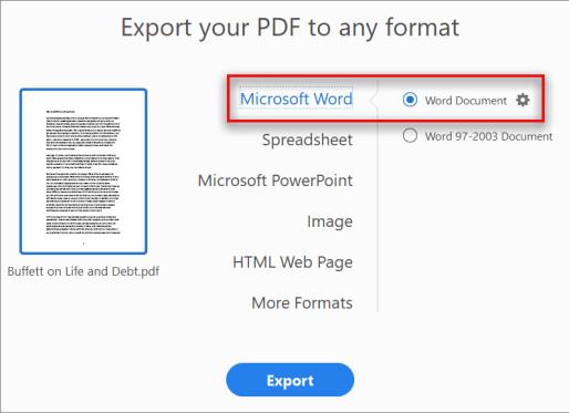 pdf to word using Adobe acrobat
