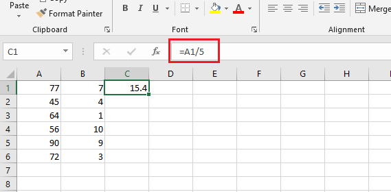 formula for division in excel values