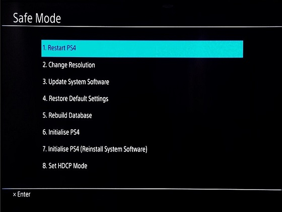 how to get ps4 out of safe mode