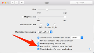 how to hide doc in Mac OS