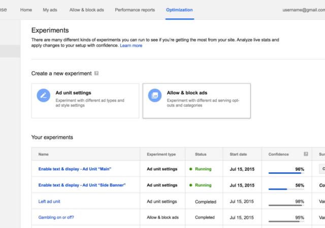 AdSense Gets New Optimization Tab