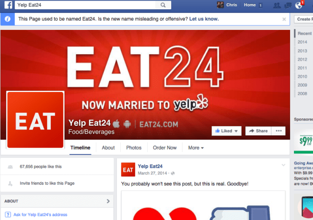 2 Years After Highly-Publicized Facebook Breakup, Eat24 Page Becomes 'Yelp Eat24'