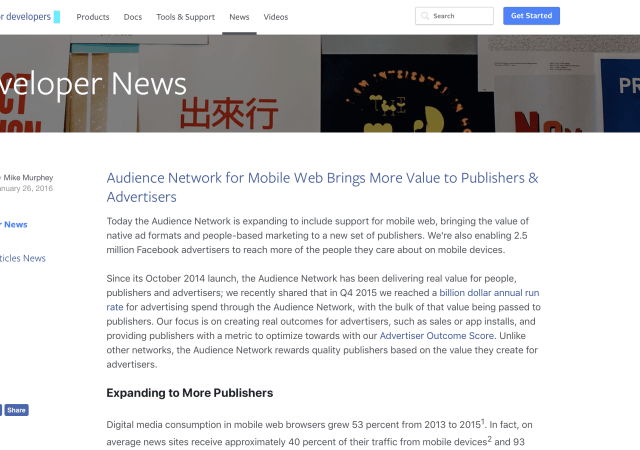 Facebook  Audience Network Expands To Mobile Web