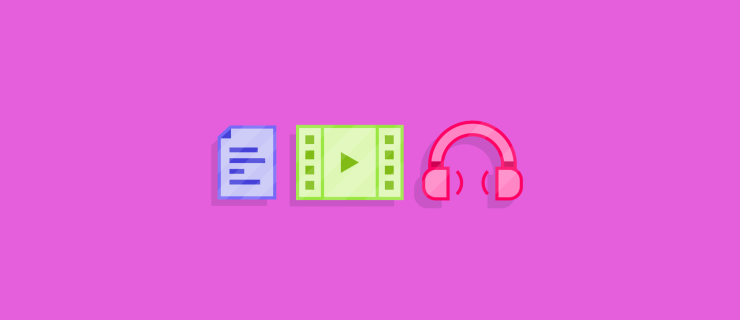 icons for document, movie, and audio all on one hotter than hot pink background
