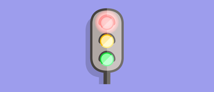 Stoplight with red light bright