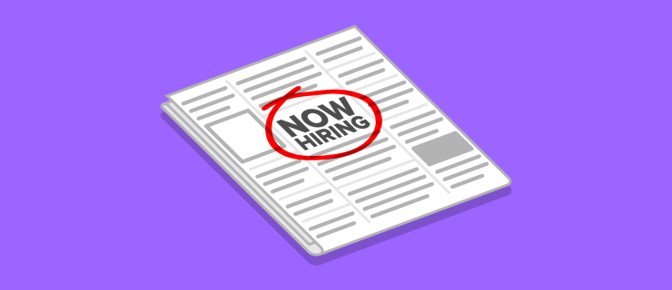 Now Hiring job advertisement circled in red in a newspaper