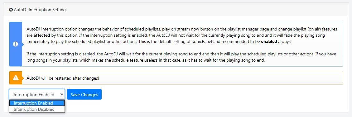 Sonic Panel - AutoDj Management