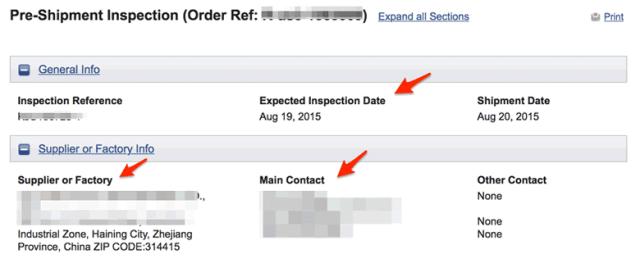 Pre-Shipment Inspection 1 Supplier Details