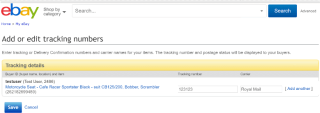 eBay Tracking Numbers