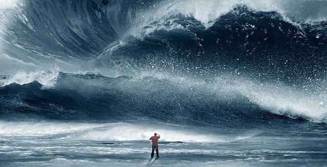 Man facing tsunami