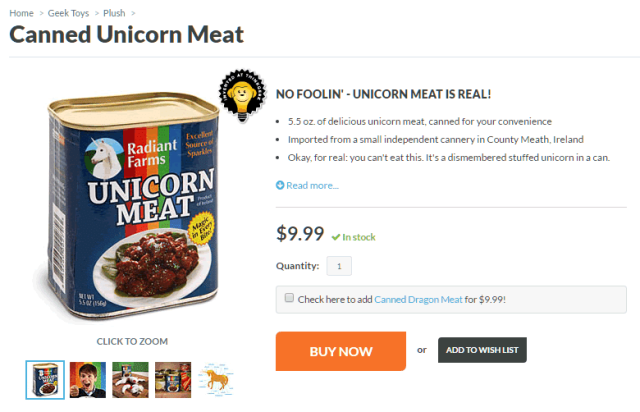 Canned unicorn meat