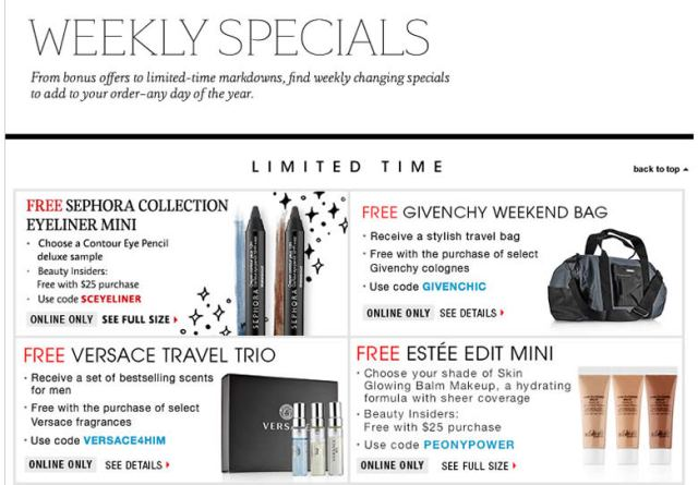 Sephora weekly specials