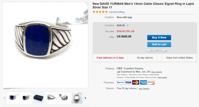 Mens ring being sold on eBay US