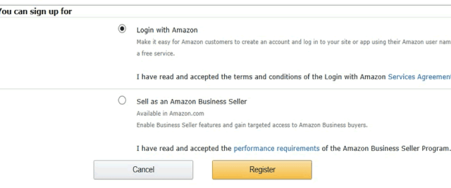 Amazon Seller services sign-up