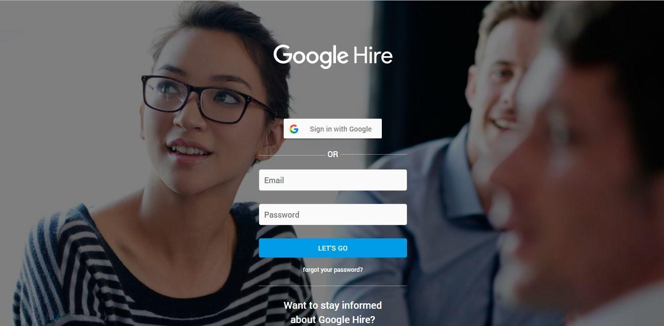Pantalla principal de Google Hire