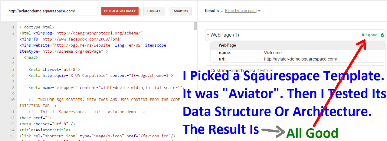 Squarespace demo Template Structural Data Test
