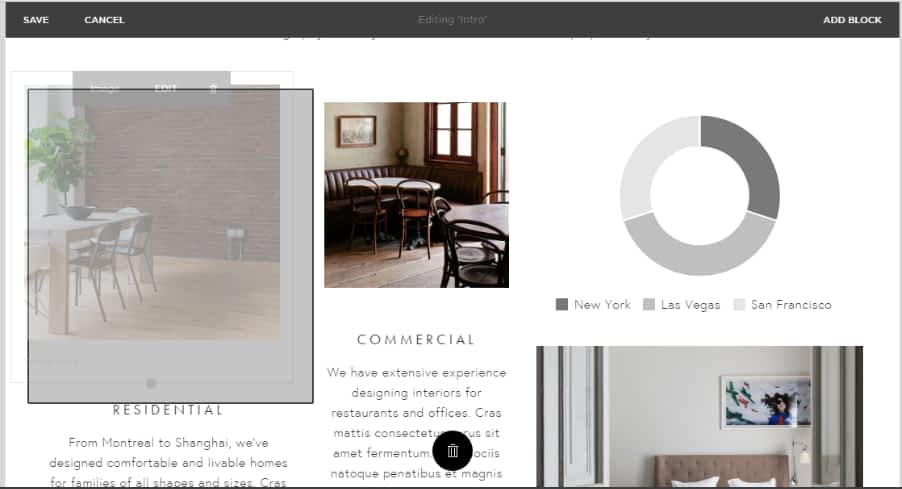 Squarespace Site Builder editing page Moving & resizing blocks is not easy and nice.