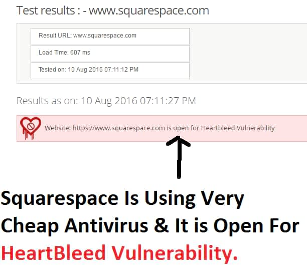 Squarespace website security test showed it is too dangerous to host. Because it is open for heartbleed vulnerability. I think it is using very cheap antivirus for its large hosting.