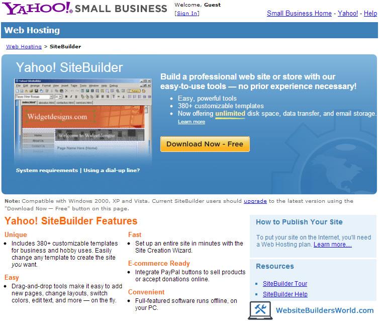yahoo site builder
