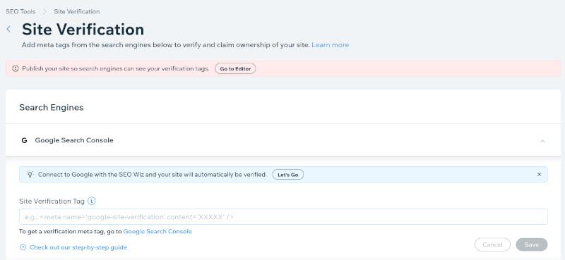 Wix Editor Add Search Console Tag