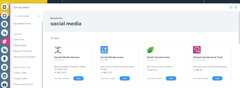 Wix Editor Add Social Media