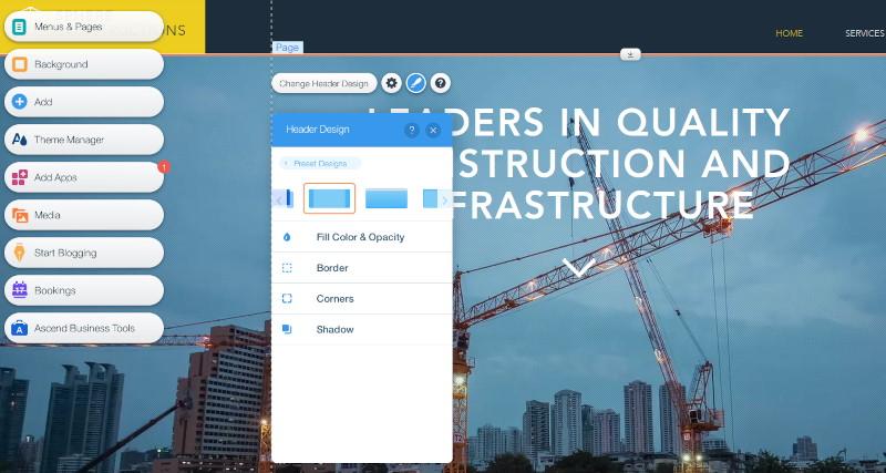 Wix Editor Add header design