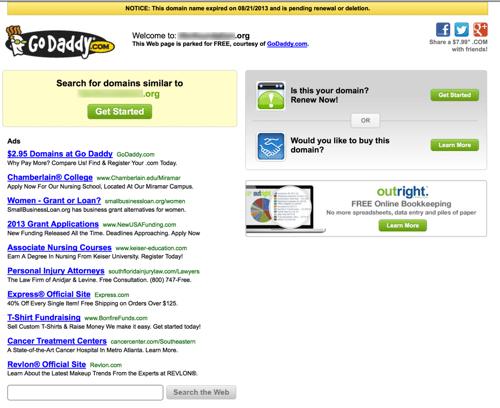screenshot of godaddy domain registration page