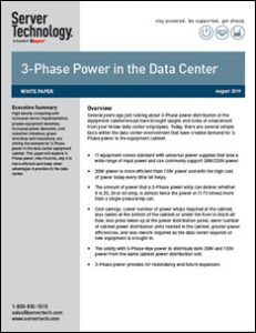 High Density Computing Driving Demand for 3-Phase Power in the Data Center