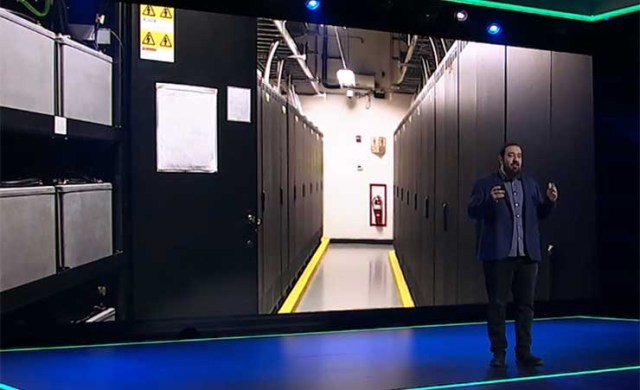 Amazon Senior VP of Infrastructure Peter DeSantis offers a look inside a power room at an AWS data center during this week's re:Invent 2020 conference. (Image: AWS)
