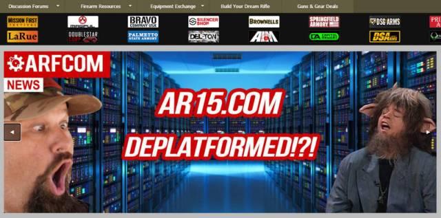 Screenshot of AR15.com saying that it was deplatformed