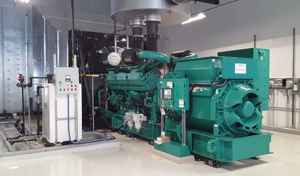 A backup generator at the CloudHQ data center in Manassas, Virginia. (Photo: Rich Miller)