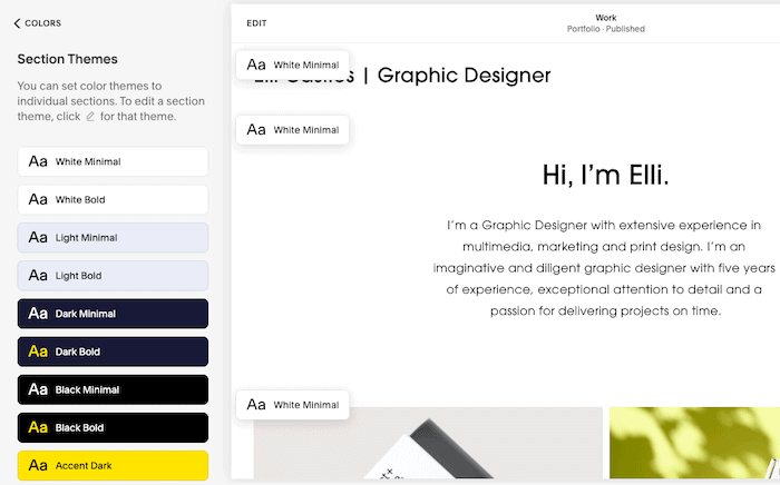 squarespace section theme