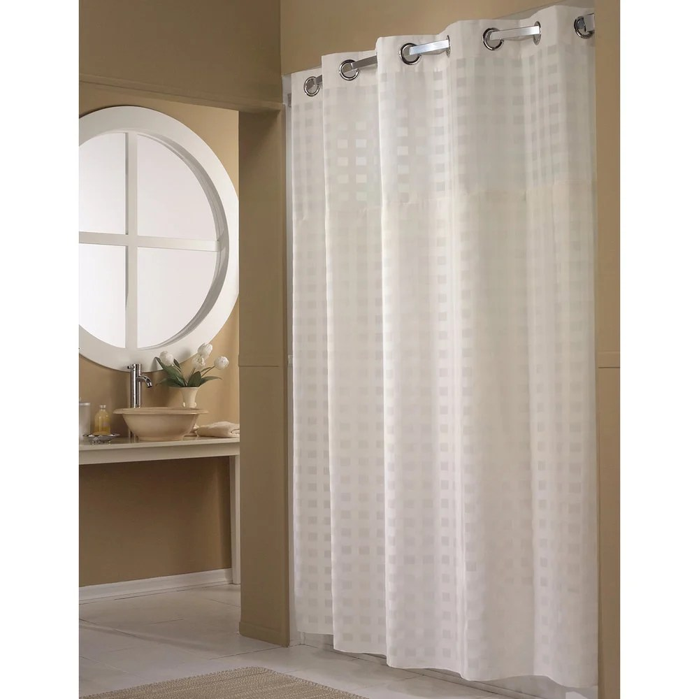 Hookless HBH65D201X White Shimmy Square Shower Curtain With Chrome Raised Flex On Rings Its A