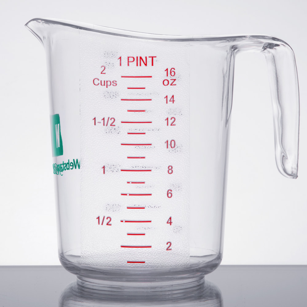 WebstaurantStore 1 Pint Clear Polycarbonate Measuring Cup
