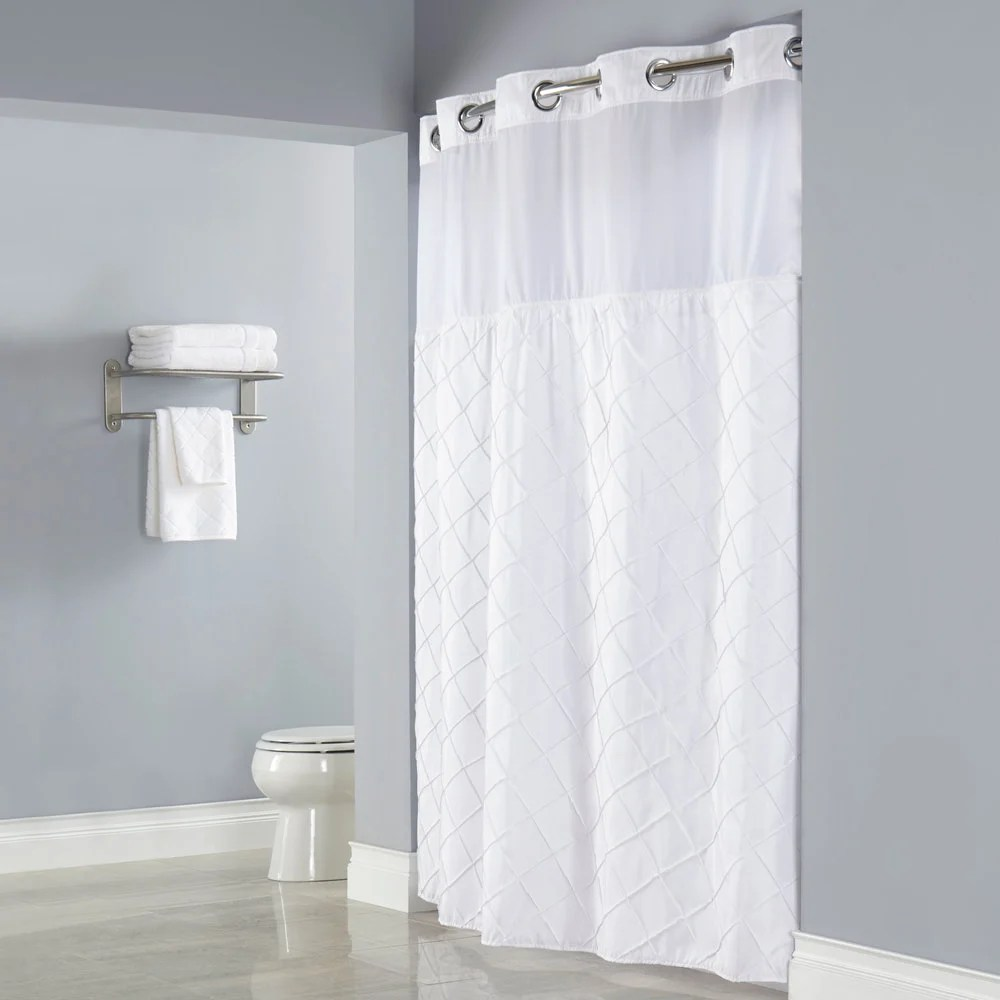Hookless HBH12PTK01SL77 White Pintuck Shower Curtain With Chrome Raised Flex On Rings Its A