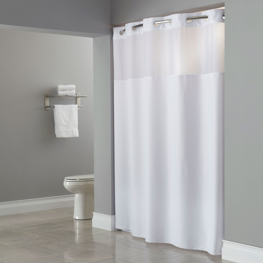 hookless hbh72ptm0177 white repet one planet daytona shower curtain with matching flat flex on rings weighted corner magnets and poly voile