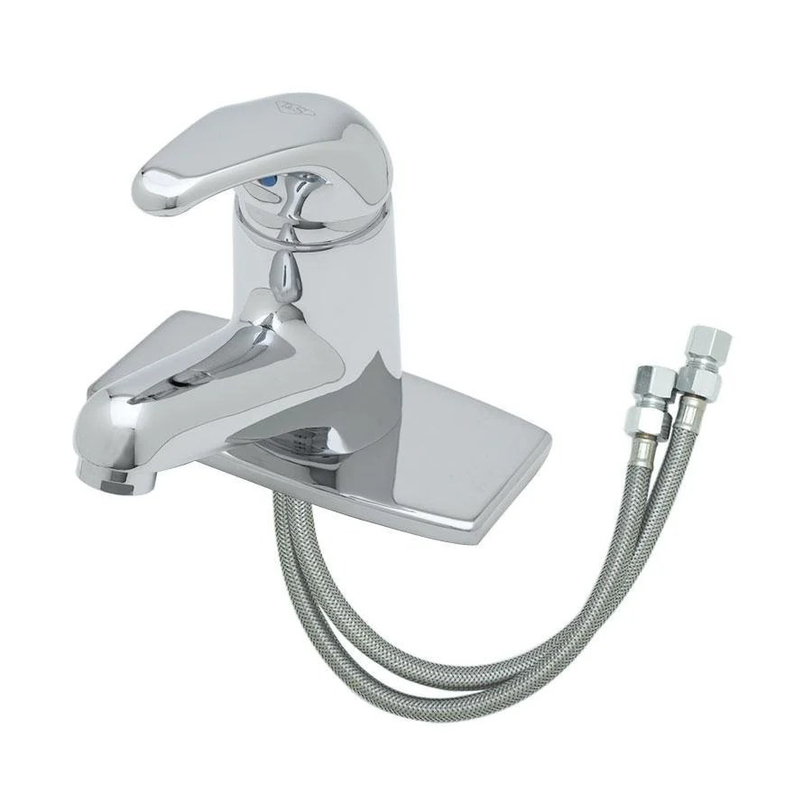 t s b 2703 vf05 deck mount single lever faucet with flexible supply lines 4 5 8 spread