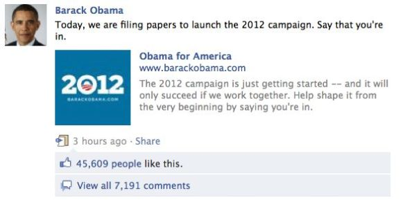 President Obama's invitiation to say you're in as posted on Facebook