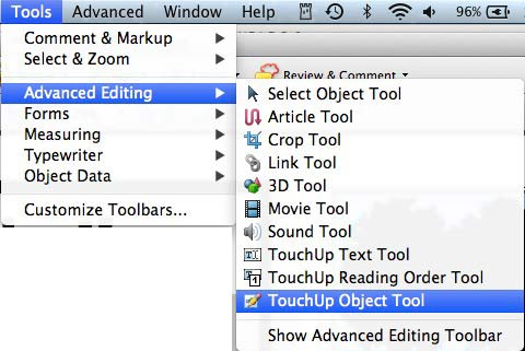 finding the touch up object tool in the menu