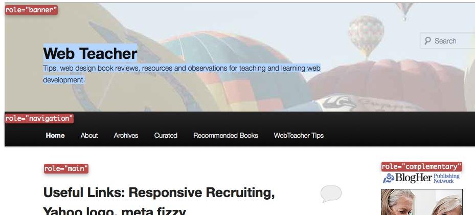 Think about ARIA roles when choosing a WordPress theme - Updated - Web TeacherWeb Teacher