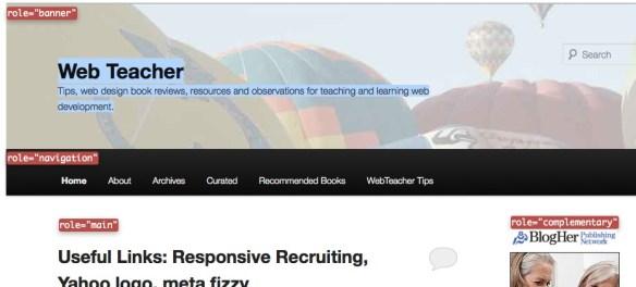 Web Teacher ARIA roles