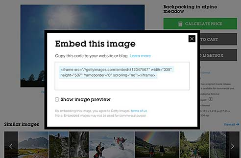Getty Images Embed Tool