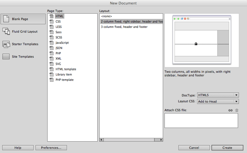 The Dreamweaver New File dialog box