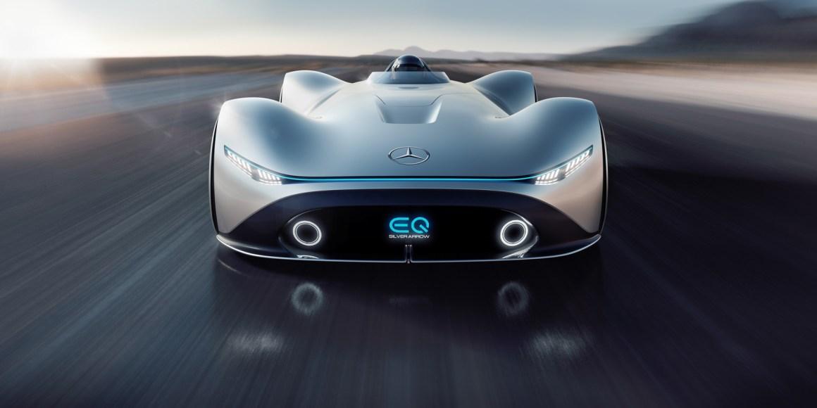c3bfbee9f0db44d2397052d1e5fe7fdf19d6e2de - The electric Mercedes-Benz EQ Silver Arrow is retro quick