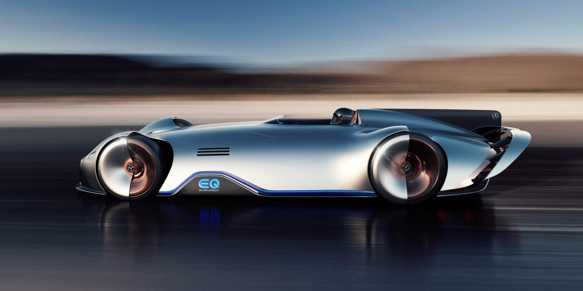 ee48608c6d03ef48c67a059d779cd1cbe6e0729e - The electric Mercedes-Benz EQ Silver Arrow is retro quick