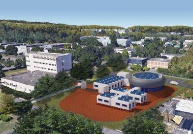 Illustration de la future base d'expérimentation du projet Spaceship, située en périphérie du CNES. A gauche, le futur atelier de fabrication, au fond, un espace de cowerking, et devant, une aile double en T.