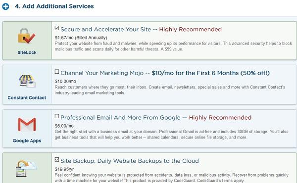 servicios opcionales de web hosting