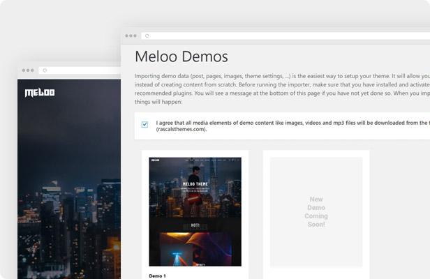 Tema WordPress de Meloo - Importación de demostración con un solo clic