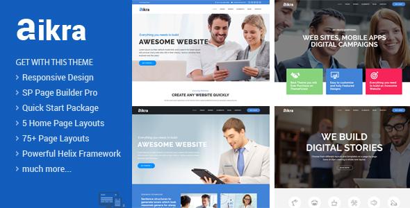 Aikra - Plantilla Joomla responsiva para múltiples propósitos con Page Builder - Empresa corporativa