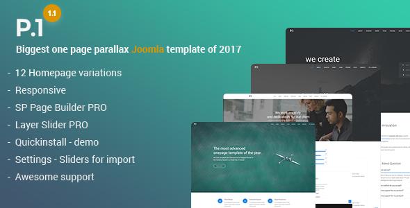 P1 - Tema Joomla de negocios polivalente sensible con Page Builder - Joomla corporativo